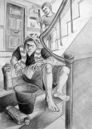 arkhe sanat imgesel figürlü kompozisyon çizimi-apartman temizleyen iki figür