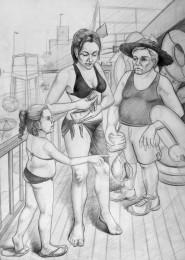 arkhe sanat figurlu imgesel karakalem çizimi-sahilde anne-cocuk ve satici