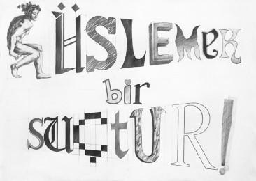 arkhe sanat karakalem tipografi cizimi-mimar sinan grafik sınav sorusu süslemek bir suçtur