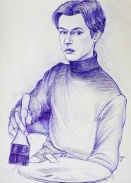 arkhe sanat tükenmez kalem model çizimi-resim yapan figür