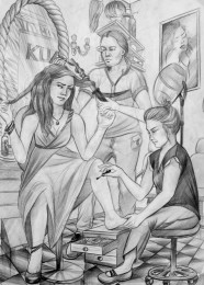 arkhe sanat imgesel figür karakalem çizimi-kuaför-2014