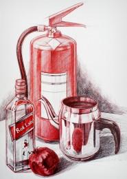arkhe sanat grafik illüstrasyon çalışması tükenmez kalem