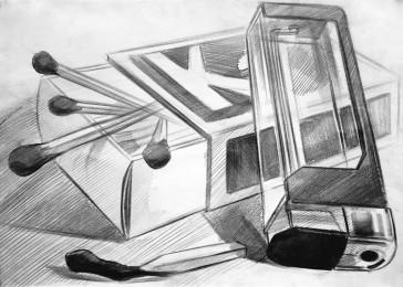 arkhe-sanat-natürmort çizimi-kibrit kutusu-çakmak