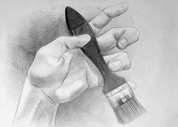 arkhe sanat karakalem fırça tutan el çizimi