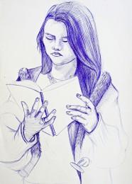 arkhe sanat tükenmez kalem model çizimi-kitap okuyan figür