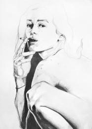 arkhe sanat illustasyon karakalem çizimi sıgaralı model