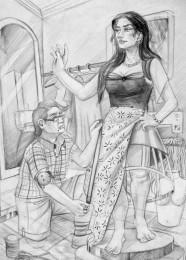 arkhe sanat moda bölümü sınav sorusu-karakalem çizimi terzi ve modeli-2010