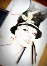 arkhe sanat moda illüstrasyon çalışması şapkalı kadın