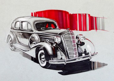 arkhe sanat araba illüstrasyon çizimi 2